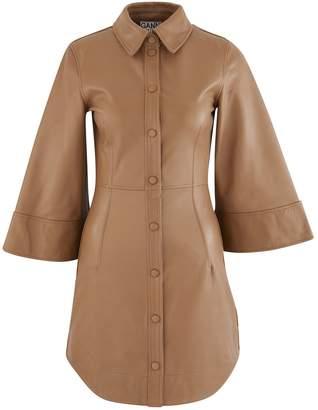Ganni Leather shirt dress