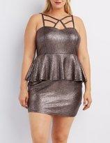 Charlotte Russe Plus Size Metallic Caged Peplum Dress