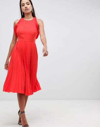 Asos Design DESIGN pleated midi dress with ruffle open back