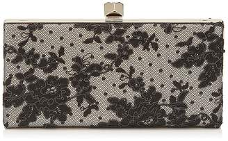 Jimmy Choo CELESTE/S Black Floral Lace Clutch Bag with Cube Clasp