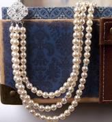 Gama Weddings Three Strand Rhinestone Pearl Necklace