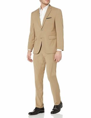 Louis Raphael Men's Two Button Side Vent Flat Front Slim Fit Suit