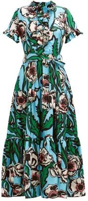 La DoubleJ Long And Sassy Floral-print Silk-twill Maxi Dress - Blue Print