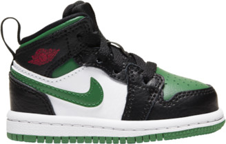 Jordan AJ 1 Mid Basketball Shoes - Black / Pine Green White