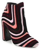 Salvatore Ferragamo Feel Embroidered Velour Block-Heel Booties
