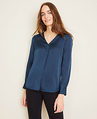 Ann Taylor Petite Shimmer Mixed Media Pleat Front Top