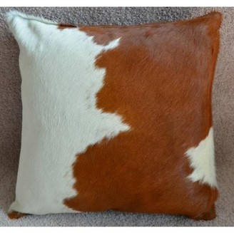 "Pergamino Brown and White DS Cowhide Pillow Cover 15""x15"""