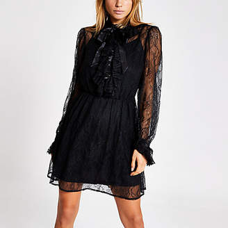 River Island Black lace tie neck mini swing dress