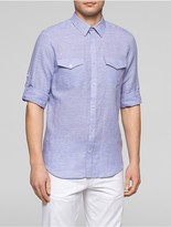 Calvin Klein Slim Fit Houndstooth Roll-Up Shirt
