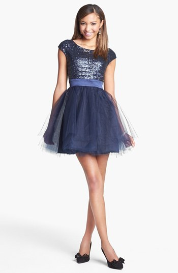 Trixxi Sequin & Tulle Party Dress (Juniors) (Online Only)