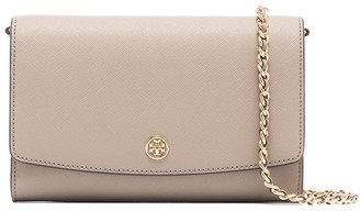 Tory Burch Logo Applique Chain Leather Wallet