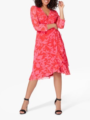 Live Unlimited Curve Fuchsia Floral Wrap Dress, Pink