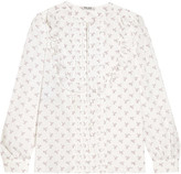 Miu Miu Ruffle-trimmed Printed Cotton Blouse - White