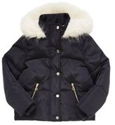 F&F Faux Fur Trim Padded Hooded Jacket, Girl's