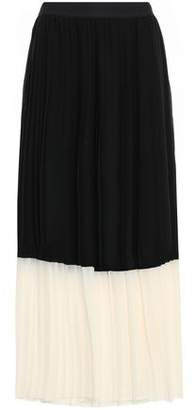 Zimmermann Pleated Two-tone Crepe De Chine Midi Skirt