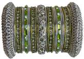 Indian Bridal Collection! Panache' Mehandi Green Bangle Set in Silver Ton BangleEmporium X-Small