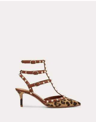 Valentino Garavani Rockstud Leopard Print Canvas Pump With Straps 65 Mm