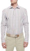 Kiton Plaid Woven Shirt, Brown/White