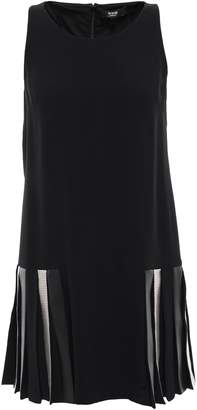 Versace Chainmail And Leather-paneled Crepe Mini Dress