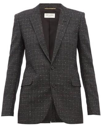 Saint Laurent Checked Wool-blend Blazer - Grey