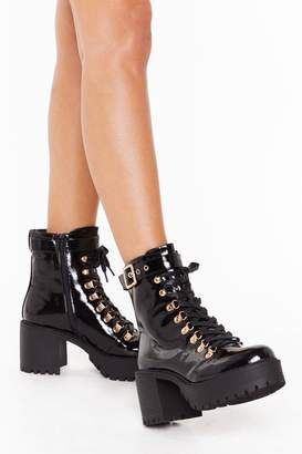 Nasty Gal Womens Shake Your Booty Patent Faux Leather Lace-Up Boots - black - 3