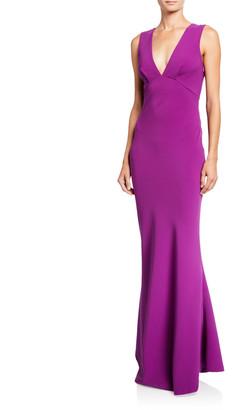 Sachin + Babi Danalyn V-Neck Bow-Bow Sleeveless Stretch Crepe Column Dress