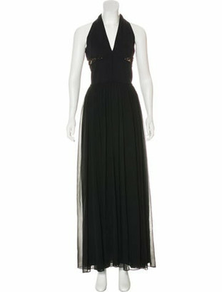 Elie Saab Pleated Lace-Accented Dress Black