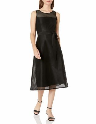 Nine West Women's Square Net Mesh A-line Midi Dress with Yoke
