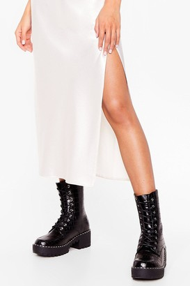 Nasty Gal Womens Croc and Stare Faux Leather Cleated Boots - Black