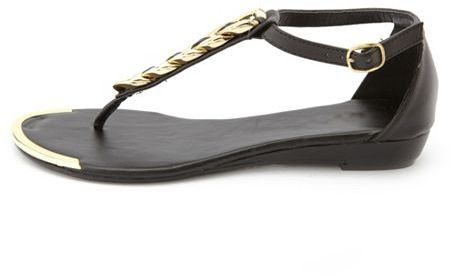 Charlotte Russe Chain Link T-Strap Wedge Sandal