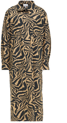 Ganni Printed Cotton-poplin Midi Shirt Dress