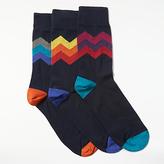 John Lewis Zigzag Socks, Pack Of 3, Navy/multi