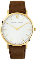 Larsson & Jennings Lugano 40mm Leather Watch Gold/White/Brown