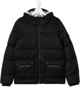 Boss Kids Hooded Embroidered-Logo Puffer Coat