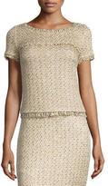 St. John Raffia-Knit Short-Sleeve Top, Gold/Multi
