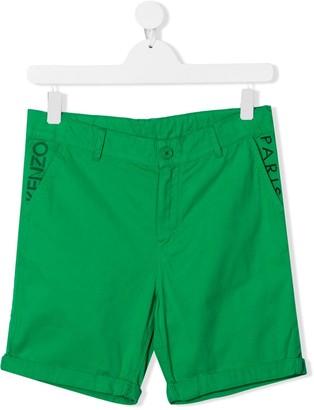 Kenzo Kids TEEN logo embroidered shorts
