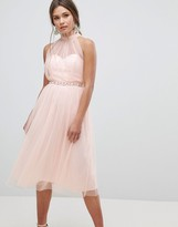 Asos Design Embellished Waist High Neck Tulle Midi Dress