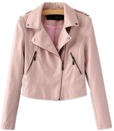 Huafeiwude Womens Classic Faux Leather Biker Motorcycle Short Jacket Punk Rock M