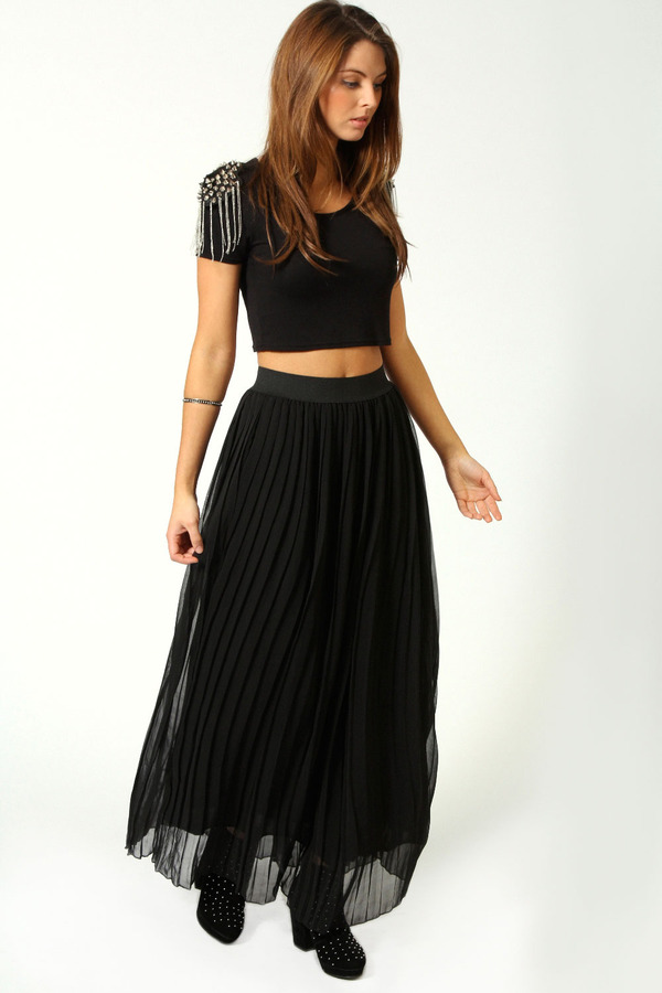 boohoo Anthea Pleated Full Length Chiffon Maxi Skirt