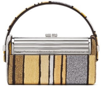 BIENEN-DAVIS Regine Metallic Brocade Minaudiere Clutch - Gold Multi