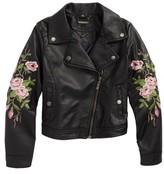 Joujou Girl's Jou Jou Embroidered Faux Leather Moto Jacket