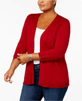 Karen Scott Plus Size Ribbed-Yoke Open-Front Cardigan, Created for Macy's