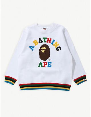 A Bathing Ape College stripe-trimmed branded cotton sweatshirt 5-10 years