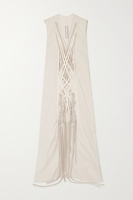 Rick Owens Abito Lace-up Cotton-blend Gown - Taupe