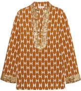 Tory Burch Embellished Printed Silk-crepe Tunic - Brown