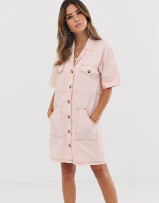 Asos Design DESIGN chuck on utility mini shirt dress with contrast stitch-Pink