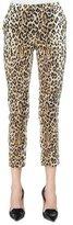 Carolina Herrera Cheetah-Print Skinny Cropped Pants, Black/Camel