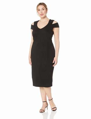 Dress the Population Women's Size Bryce Stretch Knit Bodycon Midi Dress with Cut-Outs Plus