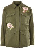 Petite floral applique shacket