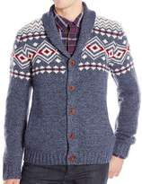 Lucky Brand Blue Mens Size Large L Lodge Shawl Cardigan Sweater